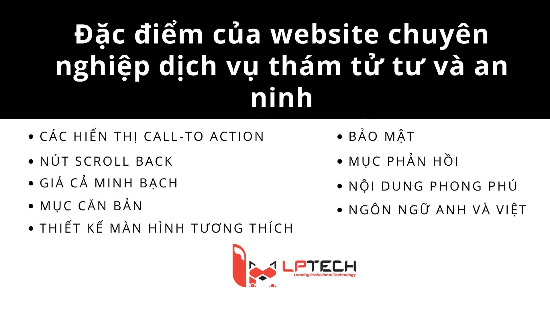 Các đặc điểm của website chuyên nghiệp cho dịch vụ thám tử tư và bảo vệ