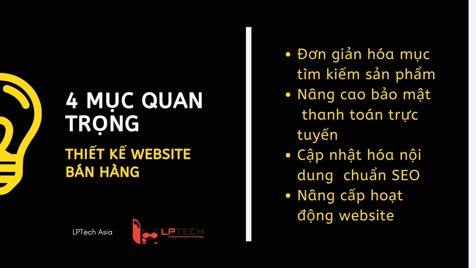 Bốn mục quan trọng trong thiết kế website bán hàng