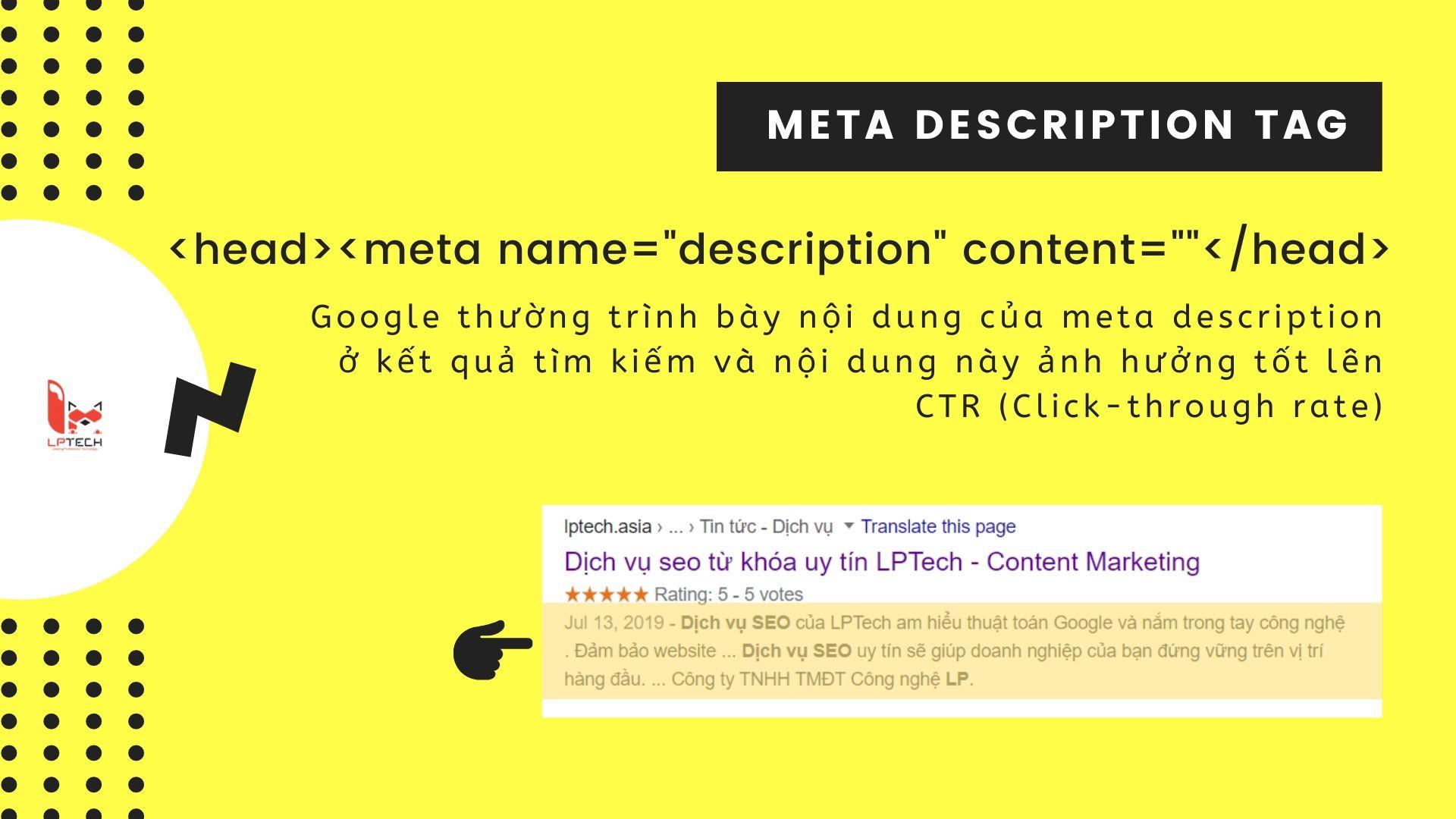 Cách sử dụng meta description tag
