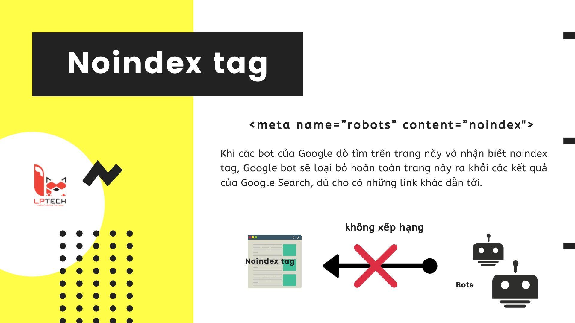 Cách sử dụng noindex tag