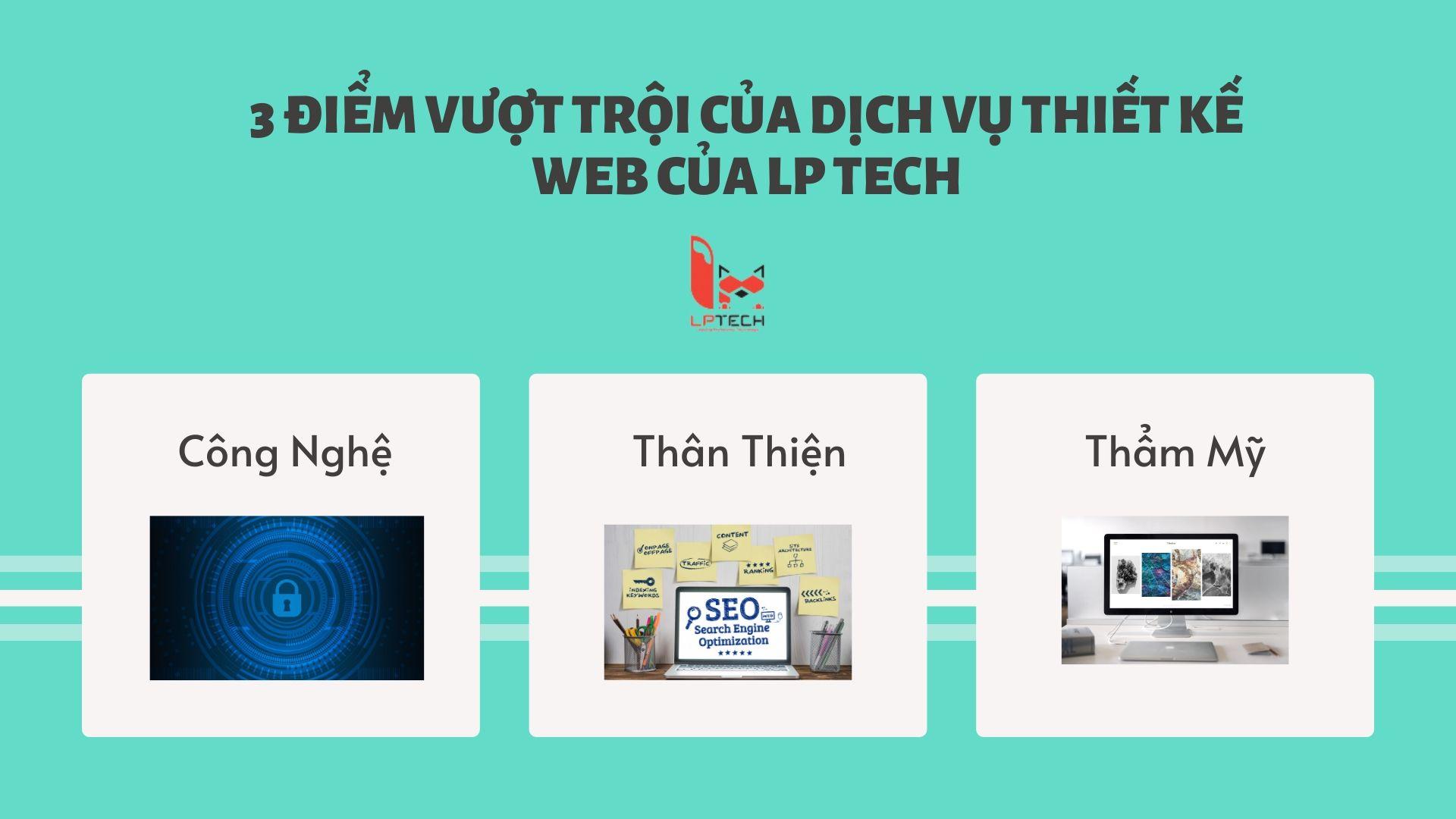 3 điểm vượt trội của dịch vụ thiết kế website của LP Tech