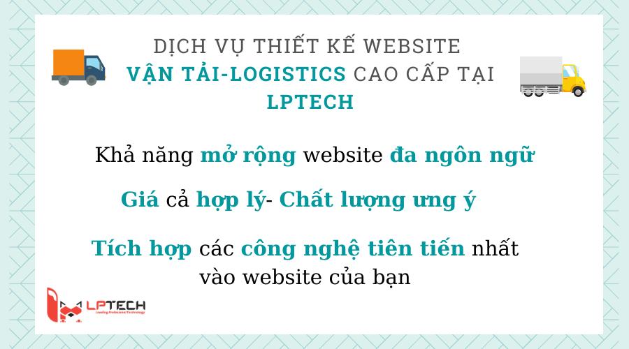 Dịch vụ thiết kế website vận tải- Logistics tại LPTech