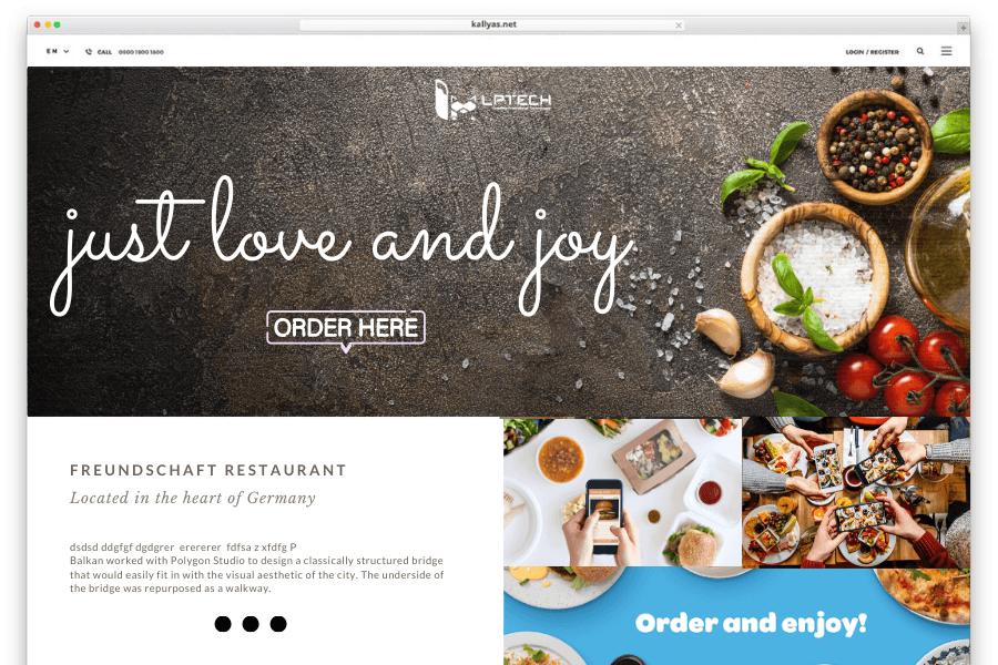 Trang chủ trong thiết kế web nhà hàng chuẩn SEO