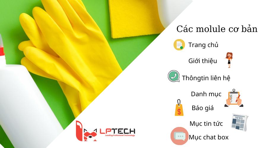 Các module trong website vệ sinh công nghiệp