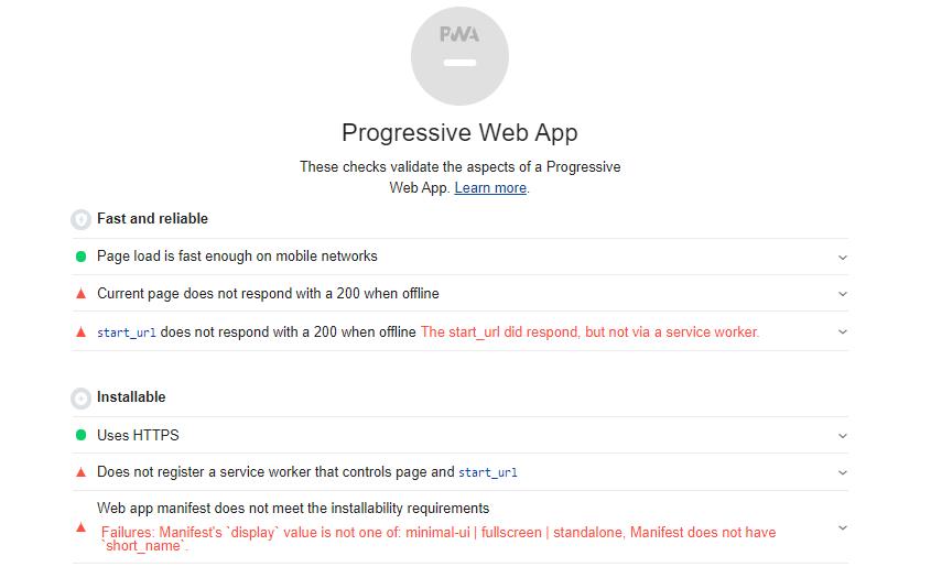 Progressive Web App trong Lighthouse
