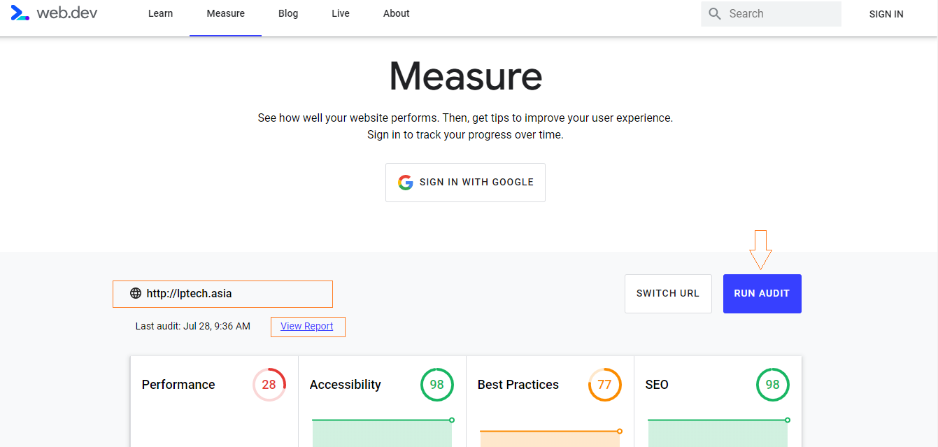 cách sử dụng Google Lighthouse