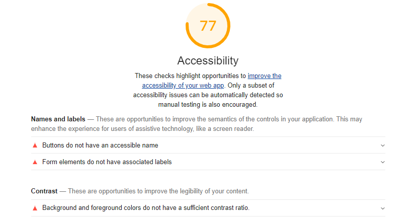 Báo cáo Accessibility trong Lighthouse