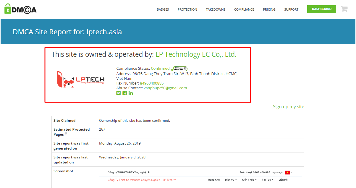 Chứng nhận bản quyền DMCA lptech