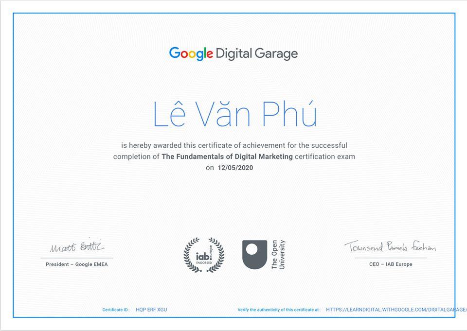 Google Fundamentals Of Digital Marketing Certìication