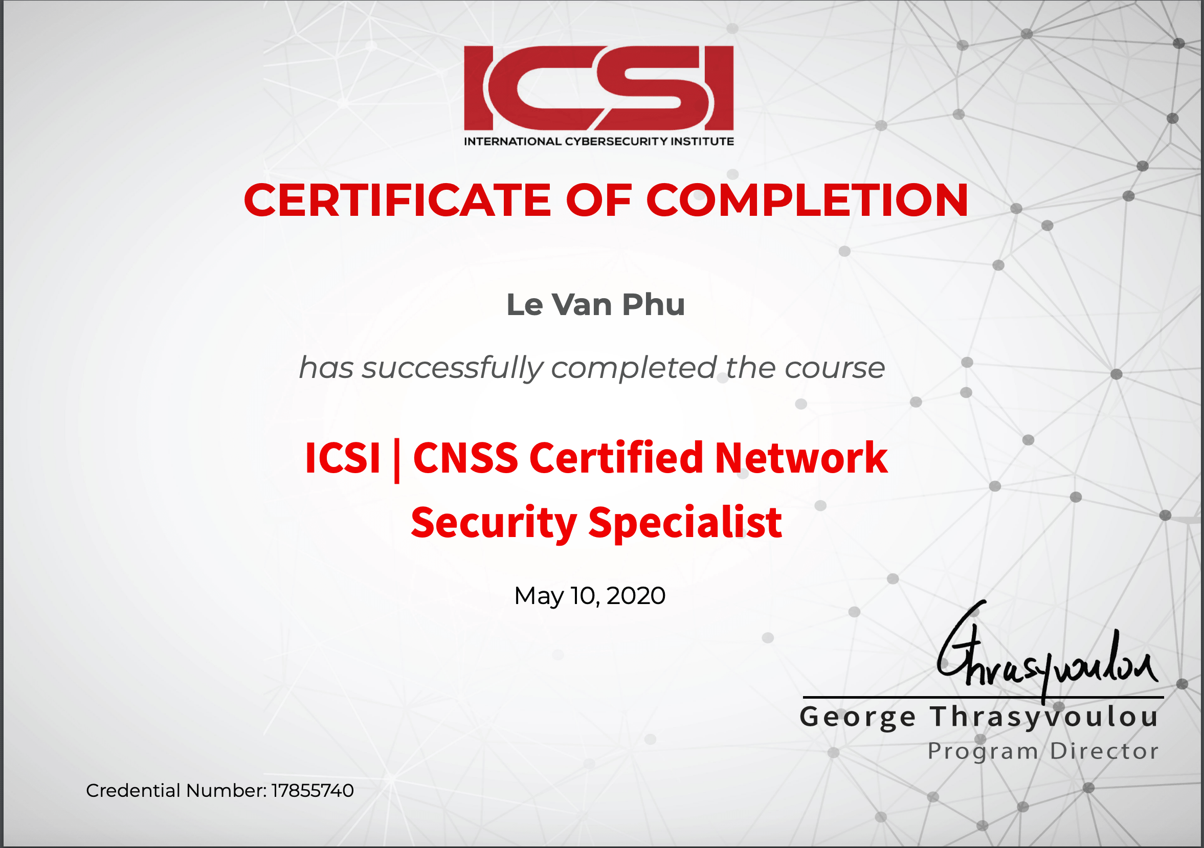 CNSS Certified Network Security Specialist Certificate