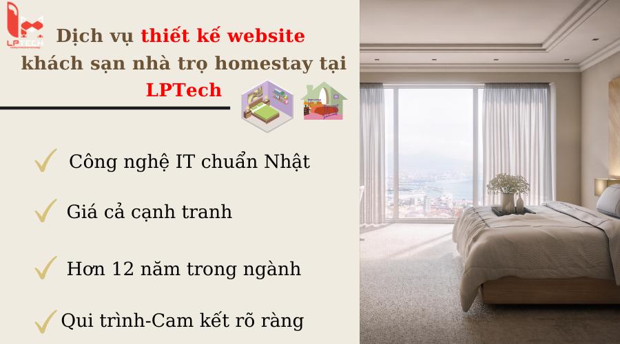 Dịch vụ thiết kế website khách sạn nhà trọ homestay tại LPTech