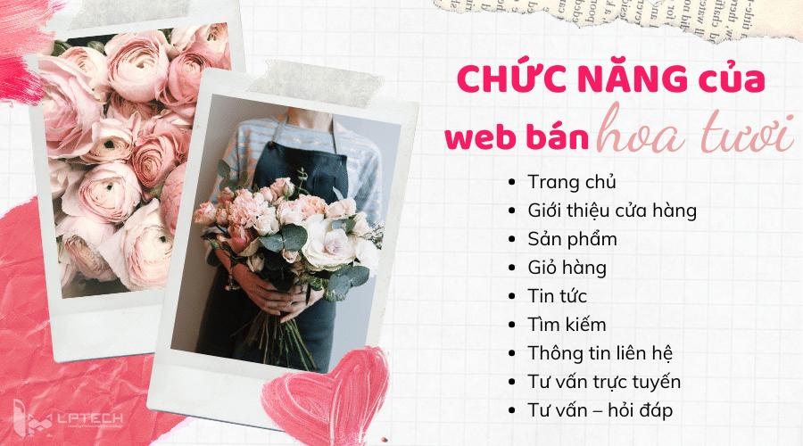 Các chức năng của website bán hoa tươi