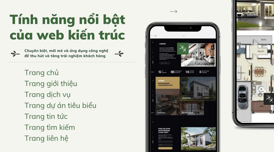 Tính năng nổi bật của website kiến trúc