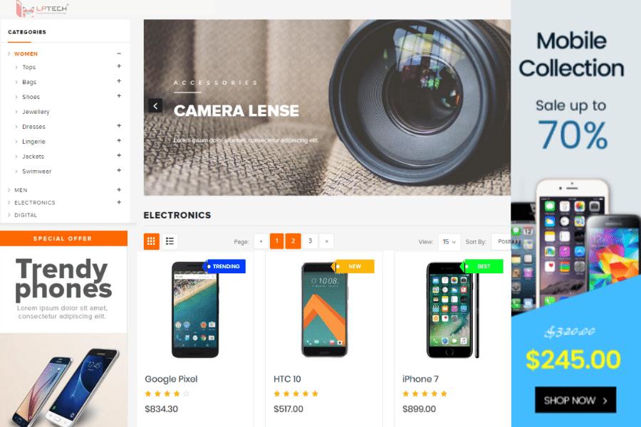 thiết kế web bán điện thoại di động
