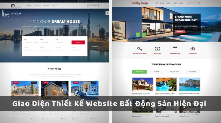 Giao diện thiết kế website bất động sản hiện đại