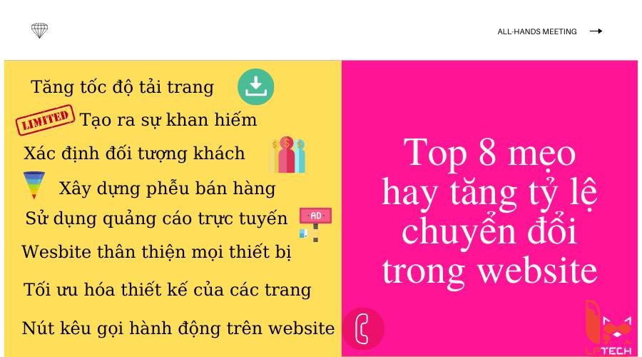 Top 8 mẹo hay giúp website trở nên hấp dẫn tăng tỷ lệ chuyển đổi