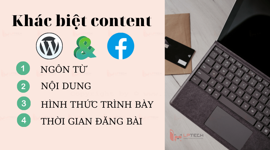 khác nhau giữa content facebook và content website