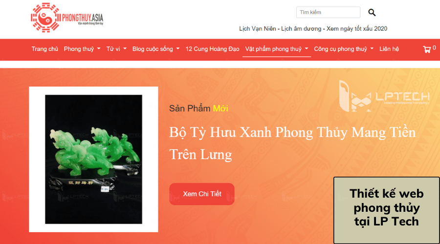 Thiết kế web bán đá phong thủy tại LP Tech