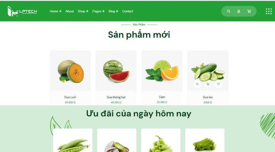thiết kế web bán trái cây nhập khẩu