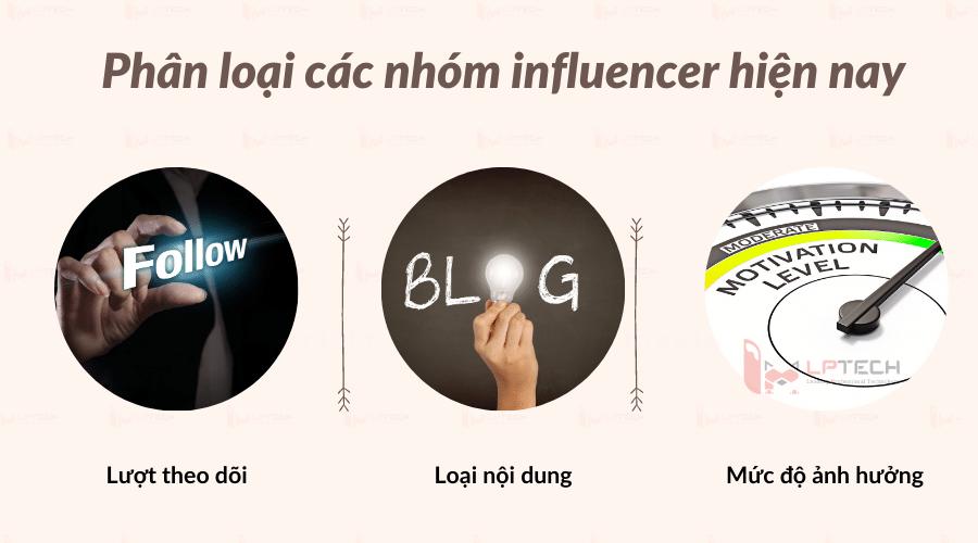 Phân loại nhóm influencer