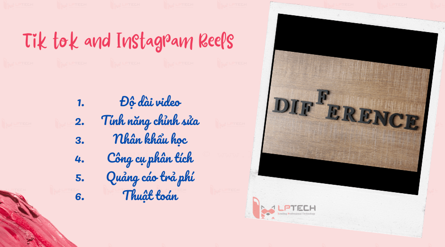 """6.Thuật toán Thuật toán của Tik tok là một dấu chấm hỏi trong một thời gian dài cho đến khi Tik tok công bố. Thuật toán Tik tok """"For You"""" được Tik tok vén màn dựa trên tập hợp phức tạp các tín hiệu có trọng số. Video được giới thiệu vào """"For You"""" đó là những nội dung đáp ứng được yêu cầu của thuật toán như các lượt like, share, tương tác, thời lượng người xem ở lại, rời đi,...  Còn với Instagram Reels mặc dù còn mập mờ trong thuật toán nhưng người dùng có thể ngầm hiểu được. Những nội dung xuất hiện trên Tab khám phá dựa trên sở thích, vị trí, người đang follow, tương tác. Nếu Reels của người dùng có cơ hội xuất hiện ở Tab khám phá họ sẽ được thông báo. Điều này truyền cảm hứng khá nhiều cho người dùng.  Nếu Reels của ai đó trở nên """"Hot"""" trên Instagram sẽ có cơ hội thu hút đông đảo người xem quan tâm và theo dõi người đó.  Như vậy, Instagram Reels và Tik tok sở hữu khá là nhiều điểm tương đồng nhưng giữa chúng vẫn có 6 khác biệt lớn như trên. Đây có thể là động thái để Instagram có thể cạnh tranh lại với đối thủ nặng ký như Tik tok. Tuy nhiên, có một thực tế ai cũng đều phải phủ nhận đó là Tik tok đang là nền tảng dẫn đầu và lấn át khá nhiều ứng dụng khác."""