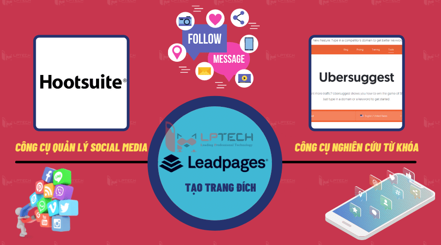 Ubersuggest, Hootsuite và Leadpages